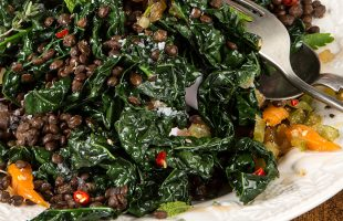 Cavolo Nero with Puy Lentils & Hot Sauce