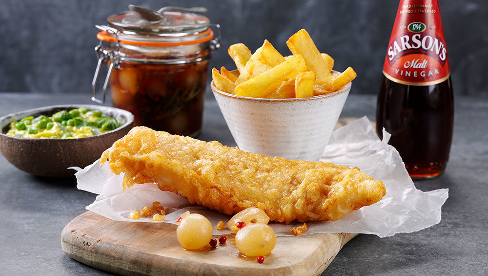 Fish and chips with pickled baby onions recipe sarson 39 s for Fish and chips vinegar