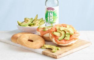 Quick-Pickled Avocado with Salmon Bagel