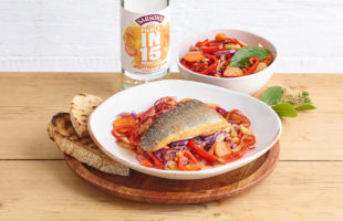 Quick-pickled sea bass escabeche with peppers, fennel and onion
