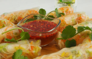 Quick-pickled Chilli Dip with Fresh Prawn & Vegetable Rolls