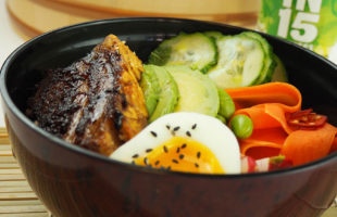 Quick-pickled Vegetables with Soy Glazed Pork Belly Poke Bowl